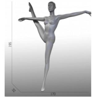 Etalagepop-Mannequin-Grijs-Turnster- Gym Houding