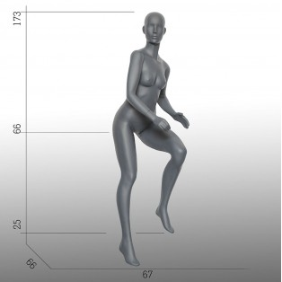 Etalagepop-Mannequin-Grijs-Fiets Houding